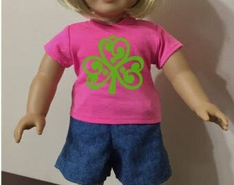 18 inch doll shirt for St Patrick's Day lucky clover shamrocks