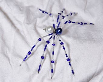 Blue and White Beaded Spider