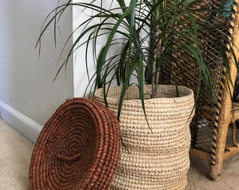 Vintage straw planter