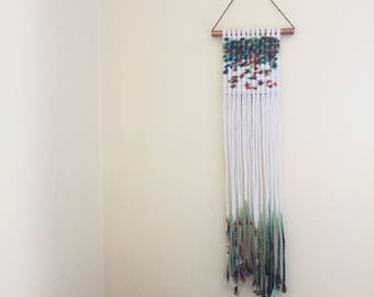 Macrame Wall Hanging / hand dyed blue green red on white with dip dye ombre fringe / wall art / modern macrame / small