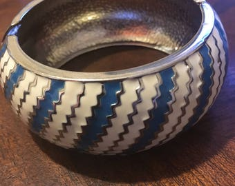 Aztec Blue and White Striped Bangle