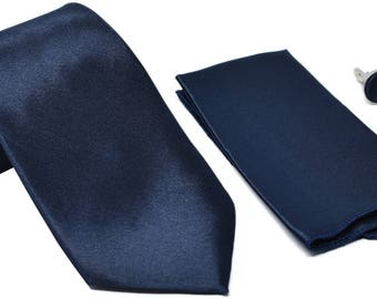 Kingsquare Solid Color Men's Tie, Pocket Square, and Cufflinks 3pcs matching set