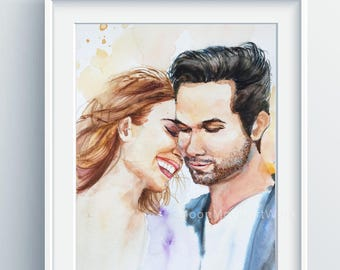 Custom Portrait, wedding gift, Personalized anniversary gift, original handmade watercolor painting, engagement gift, gift for couple