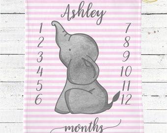 Elephant Baby Blanket Personalized / Elephant Baby Blanket Girl / Pink And Grey Baby Blanket / Baby Shower Gift Girl / Gift For New Mom Girl