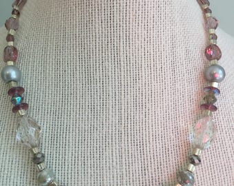 "Upcycled Jewelry- ""Delicato""  Beaded Necklace - Made with Vintage/ Recycled Materials"