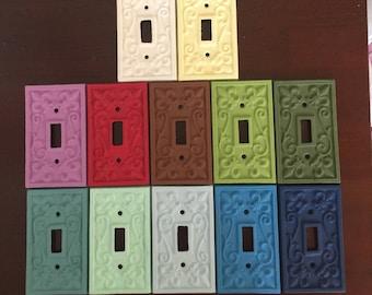 ON SALE!!!  Cast iron switch plate cover/Fleur de Lis/ Custom switch plate/Cast iron outlet cover/Rustic switch plate/Electric outlet cover
