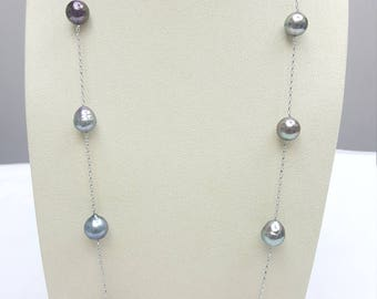 Tahitian Sea Pearl Chain Necklace, 12nnm 34inchs long, sliver chain with rhodium plated