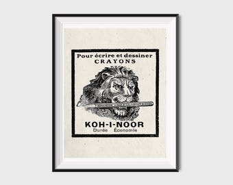 Digital Lion Print, Lion Wall Art, Old School Prints Lion Poster, Vintage Advertising Posters, Advertising Lithograph, Lion Art Print Sketch