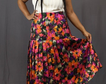 Vintage / Pleated Floral Print Skirt
