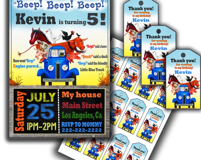 Little Blue Truck Invitation Little Blue Truck Thank You Tags Little Blue Truck Favor Tags Little blue truck invite little blue truck party
