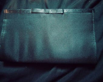 Black satin clutch