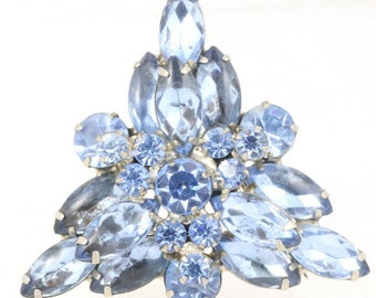Delizza and Elster Brooch in soft blue navettes, and blue chatons  Vintage 1960s Classic