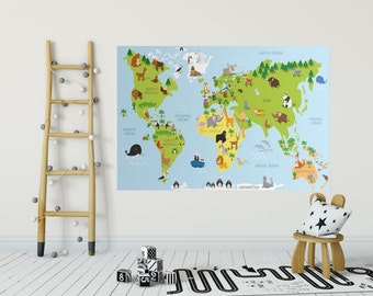 Map wall decal for kids, Educational wall decal for kids, World map sticker Animals playroom decor boys girls bedroom Nursery wall art gift