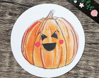 Happy Pumpkin / 6.9 cm circular PUMPKIN HALLOWEEN STICKER