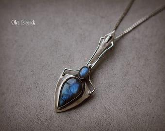 Gothic pendant Labradorite pendant Natural labradorite Fantasy pendant Fantasy necklace Gothic necklace Necklace her Labradorite her