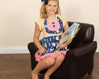 girls ABC dress- girls back to school dress-girls clothing girls summer outfit-baby ruffle dress-girls Easter dress-girls Easter outfit