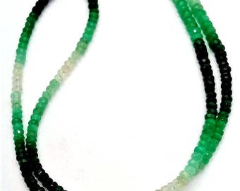 """Natural EMERALD Shaded faceted beads ,3 mm - 4 mm Approx ,18""""strand [E0536] Emerald beads very good quality"""
