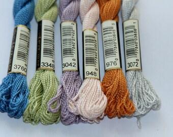 Perle cotton n 5 DMC 25 m N 3760 3348 skein 3042 948, 976 3072 sold individually