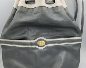 Vintage Authentic Gucci Soft Gray Leather Satchel Handbag, Designer Leather Purse, Gucci Shoulder bag with Drawstrings