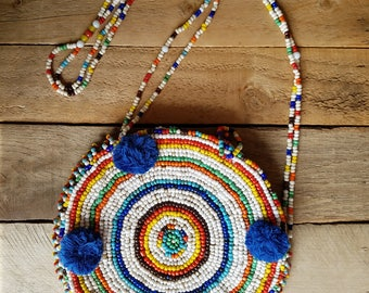 Vintage Native American Inspired Heavy Beaded Purse, Designer Chista New York Purse, Rainbow Beaded Circular Purse, Boho, Hippie