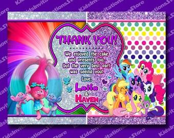 Trolls Thank You Card-My Little Pony Thank You Card-Trolls My Little Pony Double Thank You Card-Siblings Trolls MLP Thank you-Printable
