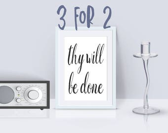 Printable AA Slogan 'thy will be done', Alcoholics Anonymous Saying, 3 for 2 offer, Recovery Instant print, NA Overeaters Anonymous 12 steps