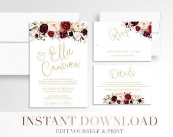 Printable Floral Wedding Invitation // Invitation Suite // Marsala White Wedding Invitation //Digital Wedding Stationery // Burgundy // Boho