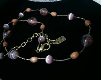 Anne Klein vintage cats eye glass and wood bead choker