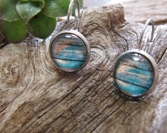 cabochon 12 mm stainless steel wood effect, blue
