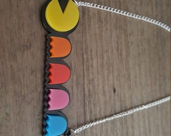Pacman laser cut perspex necklace