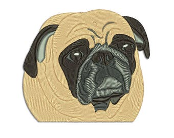 Dog embroidery design - Mops - Machine embroidery design