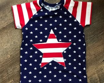 Fourth of July raglan shirt/children clothing/independents day