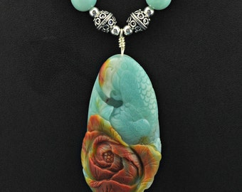 Amazonite Carved Parrot & Peony AAA Amazonite beaded .925 Necklace