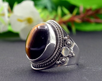 Natural Tiger's Eye Oval Gemstone Ring 925 Sterling Silver R821