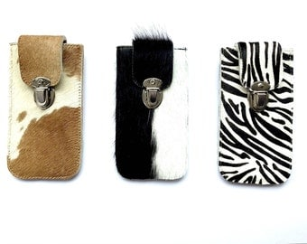 Mobile phone Pocket made from cow skin for iPhone 6 and 7 with quick-release buckle