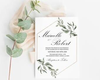 Greenery Wedding Invitation, Calligraphy Wedding Invitation Template, Printable Wedding Invitation,Printable Template,Calligraphy Invitation