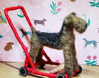 Needle Felt Pushalong Dog, Miniature Pushalong Dog Model, Model Dog Toy, Neede Felt Model, Felted Dog, Vintage Dog Ornament, Pushalong Dog