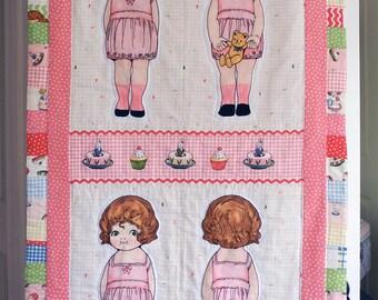 Brunette bakery doll vintage-inspired small quilt
