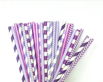 Purple Ombre Paper Straws - Lavender, Light Purple and Purple Drinking Straws - Purple Party Decorations - Purple Wedding Decorations