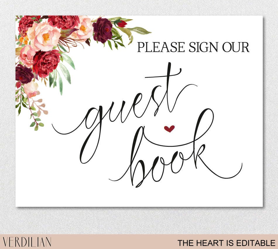 guest book sign printable template please sign our guest book burgundy printable diy template