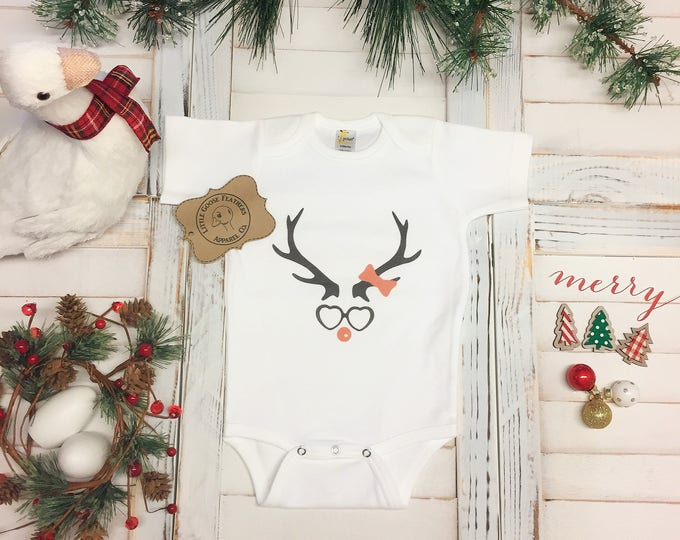 Featured listing image: Nerdy Baby Gift, Funny Geekery, Reindeer Shirt, Nerdy Baby Gifts, Nerdy Girl Gift, Nerd Girl Gifts, Computer Nerd Gifts, Kids Reindeer Shirt