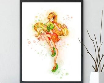 Winx Club Stella, Winx print, Winx Watercolor, Wall Decor, Stella art, Instant Download