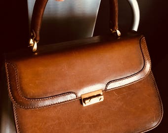 "Bag retro brown leather ""Marie-O"""