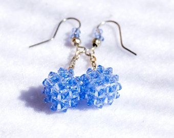 Pendant earrings with light blue cubic swarovski Crystals, hand-made.
