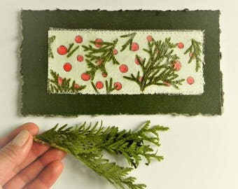 Christmas note card, green red white card with evergreen branches, rustic Christmas greetings