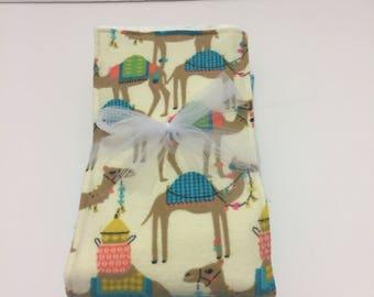 Camel Flannel Burp Cloth Set