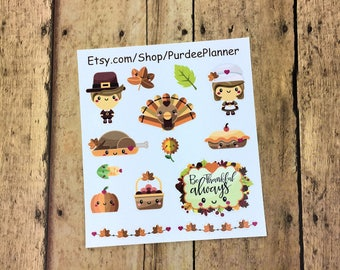 Give Thanks. Thanksgiving, November, Planner Stickers, Erin Condren, Recollections, Happy Planner, Cute Stickers, ECLP, Fun, Kawaii.