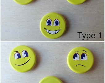 Set of 3 EMOJI Magnets. Refrigerator Magnets for your notes/photos or decoration. Different emotions / states. Don't forget. Remember.