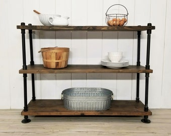 Industrial Rustic Farmhouse Wood & Steel Pipe Shelving Unit, Pantry Shelf, Baking Rack, Gardening Shelves, Bookcase