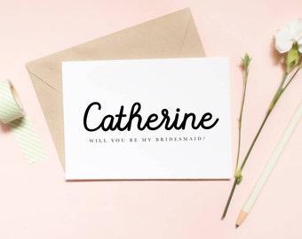 Custom name Will you be my bridesmaid? Bridesmaid proposal card, Maid of honor proposal card, poropsal card, wedding card / SKU: LNBM31